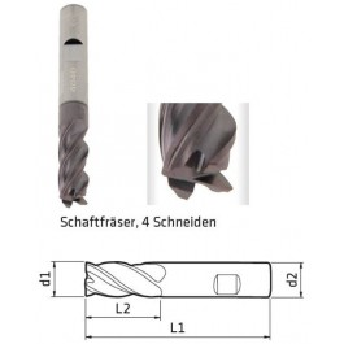 Schaftfräser DM 16mm, 4-Schneiden